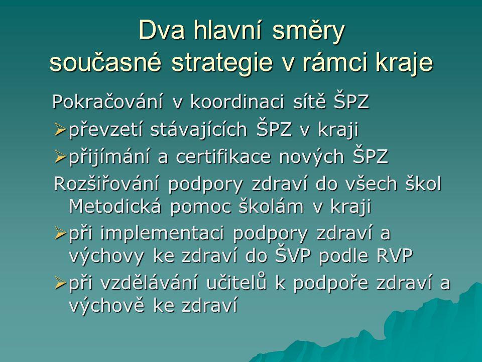 Dva hlavní směry současné strategie v rámci kraje Pokračování v koordinaci sítě ŠPZ Pokračování v koordinaci sítě ŠPZ  převzetí stávajících ŠPZ v kra