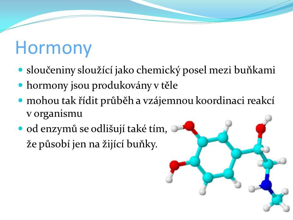 Hormony sloučeniny sloužící jako chemický posel mezi buňkami hormony jsou produkovány v těle mohou tak řídit průběh a vzájemnou koordinaci reakcí v or