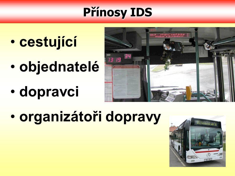 cestující objednatelé dopravci organizátoři dopravy Přínosy IDS
