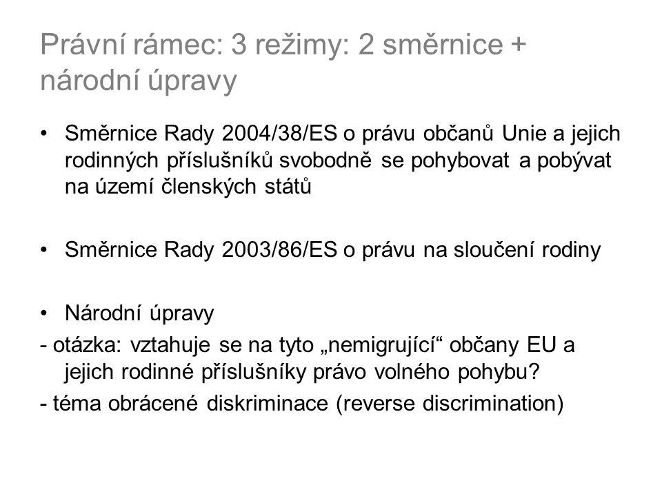 Právní rámec: 3 režimy: 2 směrnice + národní úpravy Směrnice Rady 2004/38/ES o právu občanů Unie a jejich rodinných příslušníků svobodně se pohybovat