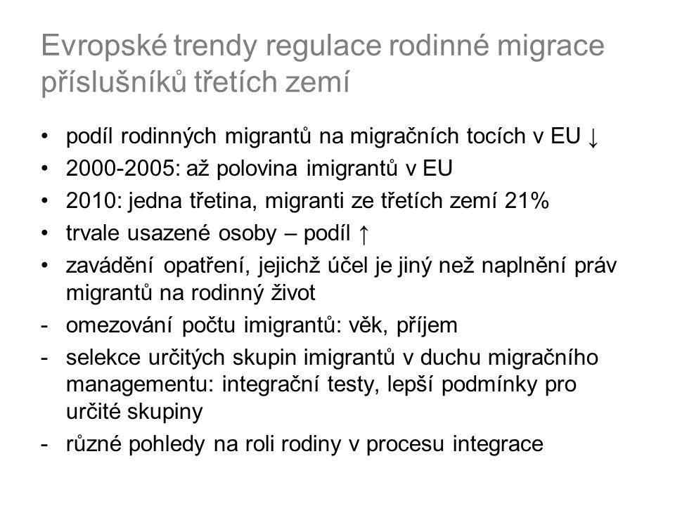 Evropské trendy regulace rodinné migrace příslušníků třetích zemí podíl rodinných migrantů na migračních tocích v EU ↓ 2000-2005: až polovina imigrantů v EU 2010: jedna třetina, migranti ze třetích zemí 21% trvale usazené osoby – podíl ↑ zavádění opatření, jejichž účel je jiný než naplnění práv migrantů na rodinný život -omezování počtu imigrantů: věk, příjem -selekce určitých skupin imigrantů v duchu migračního managementu: integrační testy, lepší podmínky pro určité skupiny -různé pohledy na roli rodiny v procesu integrace