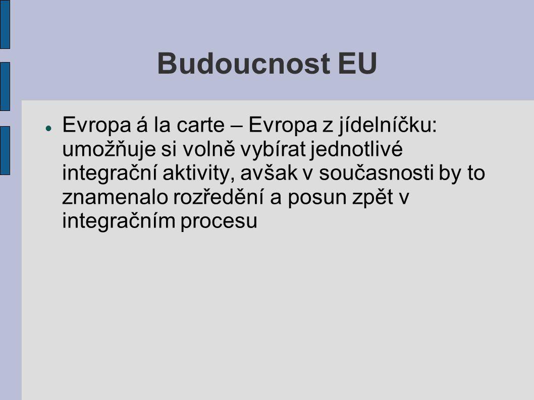 Budoucnost EU Evropa á la carte – Evropa z jídelníčku: umožňuje si volně vybírat jednotlivé integrační aktivity, avšak v současnosti by to znamenalo r