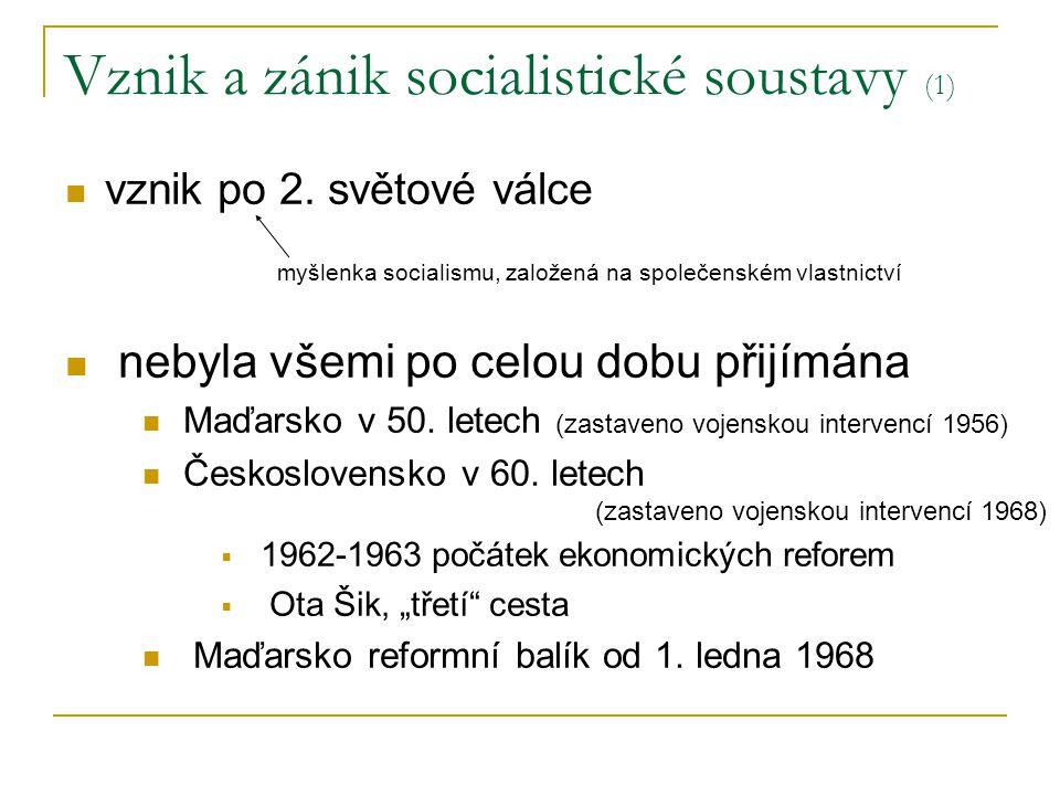 Vznik a zánik socialistické soustavy (1) vznik po 2.