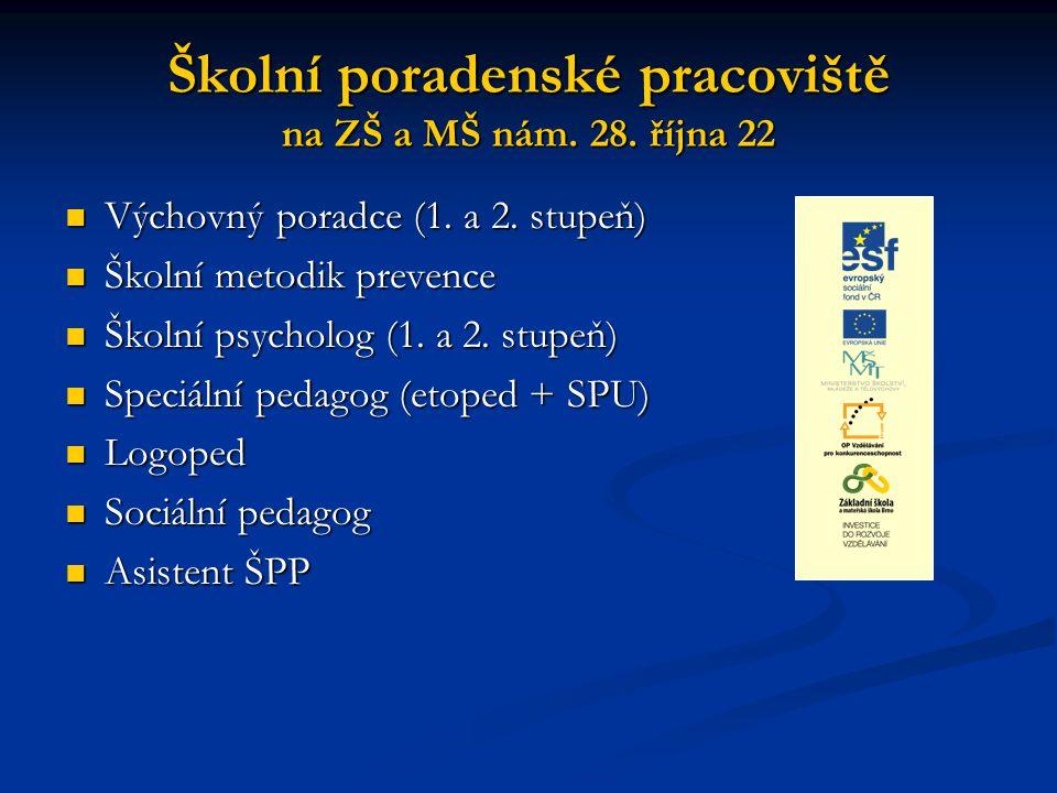 Školní poradenské pracoviště na ZŠ a MŠ nám.28. října 22 Výchovný poradce (1.