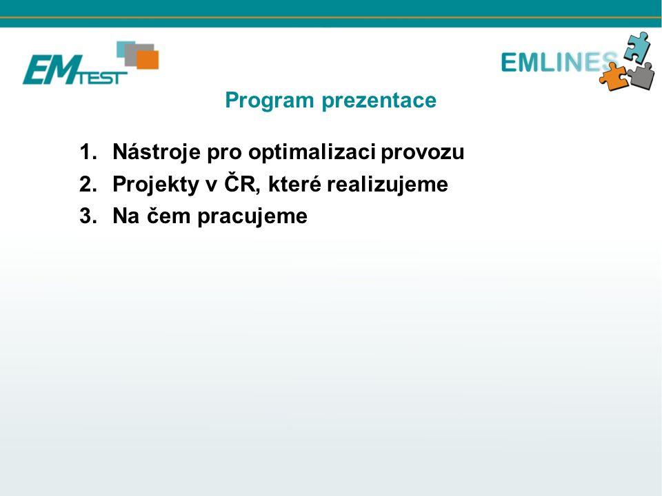Program prezentace 1.Nástroje pro optimalizaci provozu 2.Projekty v ČR, které realizujeme 3.Na čem pracujeme