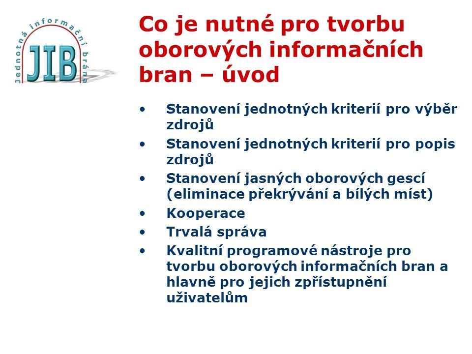 Co je nutné pro tvorbu oborových informačních bran – úvod Stanovení jednotných kriterií pro výběr zdrojů Stanovení jednotných kriterií pro popis zdrojů Stanovení jasných oborových gescí (eliminace překrývání a bílých míst) Kooperace Trvalá správa Kvalitní programové nástroje pro tvorbu oborových informačních bran a hlavně pro jejich zpřístupnění uživatelům