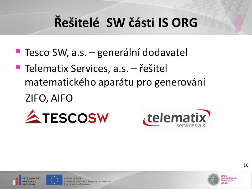 16 Řešitelé SW části IS ORG  Tesco SW, a.s. – generální dodavatel  Telematix Services, a.s.