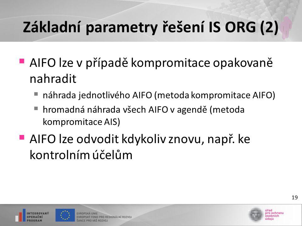 19 Základní parametry řešení IS ORG (2)  AIFO lze v případě kompromitace opakovaně nahradit  náhrada jednotlivého AIFO (metoda kompromitace AIFO)  hromadná náhrada všech AIFO v agendě (metoda kompromitace AIS)  AIFO lze odvodit kdykoliv znovu, např.