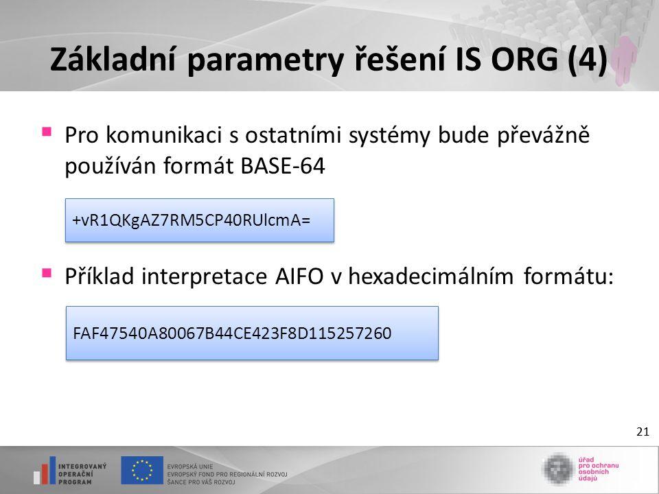 21 Základní parametry řešení IS ORG (4)  Pro komunikaci s ostatními systémy bude převážně používán formát BASE-64  Příklad interpretace AIFO v hexadecimálním formátu: 21 FAF47540A80067B44CE423F8D115257260 +vR1QKgAZ7RM5CP40RUlcmA=