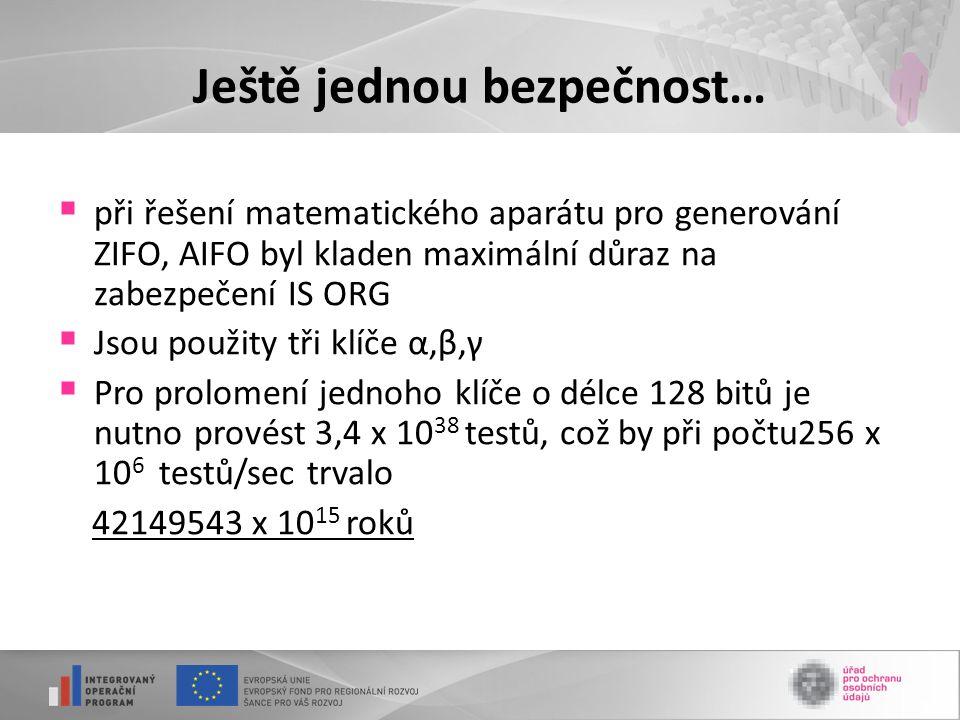 Ještě jednou bezpečnost…  při řešení matematického aparátu pro generování ZIFO, AIFO byl kladen maximální důraz na zabezpečení IS ORG  Jsou použity tři klíče α,β,γ  Pro prolomení jednoho klíče o délce 128 bitů je nutno provést 3,4 x 10 38 testů, což by při počtu256 x 10 6 testů/sec trvalo 42149543 x 10 15 roků