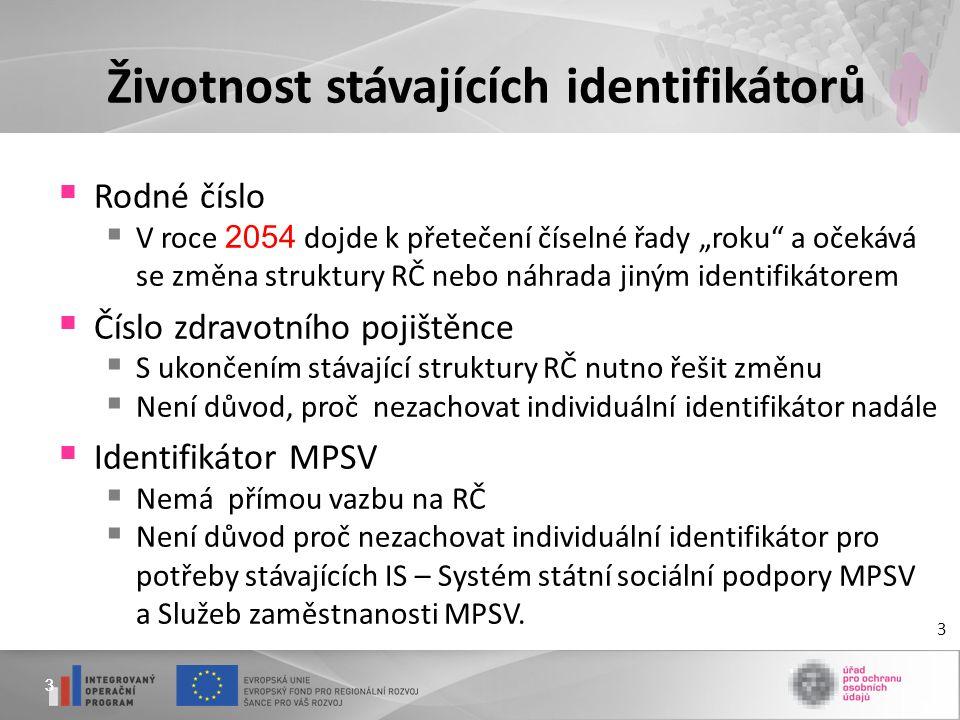 """33 Životnost stávajících identifikátorů  Rodné číslo  V roce 2054 dojde k přetečení číselné řady """"roku a očekává se změna struktury RČ nebo náhrada jiným identifikátorem  Číslo zdravotního pojištěnce  S ukončením stávající struktury RČ nutno řešit změnu  Není důvod, proč nezachovat individuální identifikátor nadále  Identifikátor MPSV  Nemá přímou vazbu na RČ  Není důvod proč nezachovat individuální identifikátor pro potřeby stávajících IS – Systém státní sociální podpory MPSV a Služeb zaměstnanosti MPSV."""