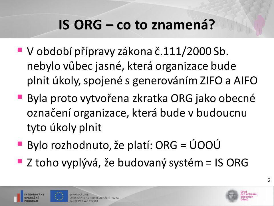 66 IS ORG – co to znamená.  V období přípravy zákona č.111/2000 Sb.