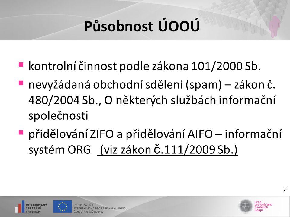 77 Působnost ÚOOÚ  kontrolní činnost podle zákona 101/2000 Sb.