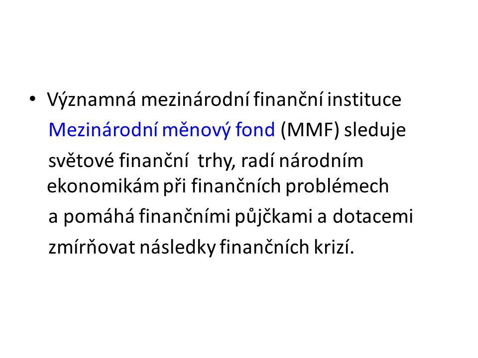 Významná mezinárodní finanční instituce Mezinárodní měnový fond (MMF) sleduje světové finanční trhy, radí národním ekonomikám při finančních problémech a pomáhá finančními půjčkami a dotacemi zmírňovat následky finančních krizí.