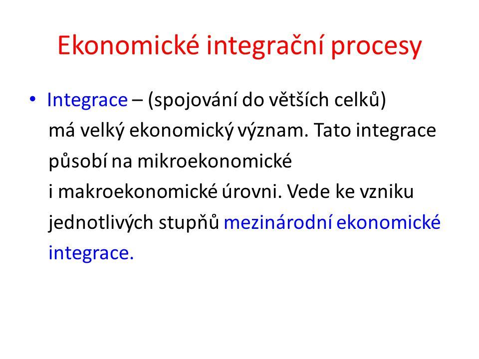 Ekonomické integrační procesy Integrace – (spojování do větších celků) má velký ekonomický význam.