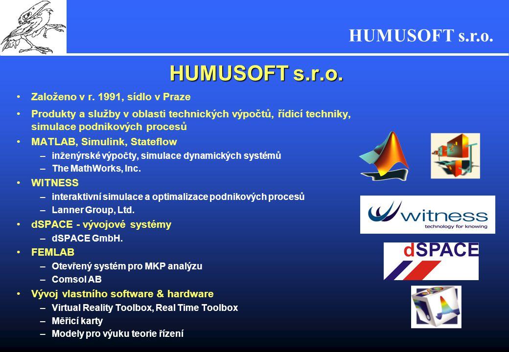 HUMUSOFT s.r.o. Založeno v r. 1991, sídlo v Praze Produkty a služby v oblasti technických výpočtů, řídicí techniky, simulace podnikových procesů MATLA