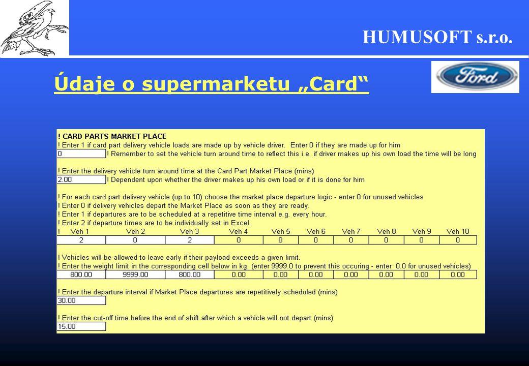 "HUMUSOFT s.r.o. Údaje o supermarketu ""Card"""
