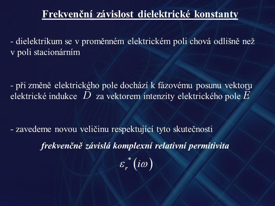 Frekvenční závislost dielektrické konstanty - dielektrikum se v proměnném elektrickém poli chová odlišně než v poli stacionárním - při změně elektrického pole dochází k fázovému posunu vektoru elektrické indukce za vektorem intenzity elektrického pole - zavedeme novou veličinu respektující tyto skutečnosti frekvenčně závislá komplexní relativní permitivita
