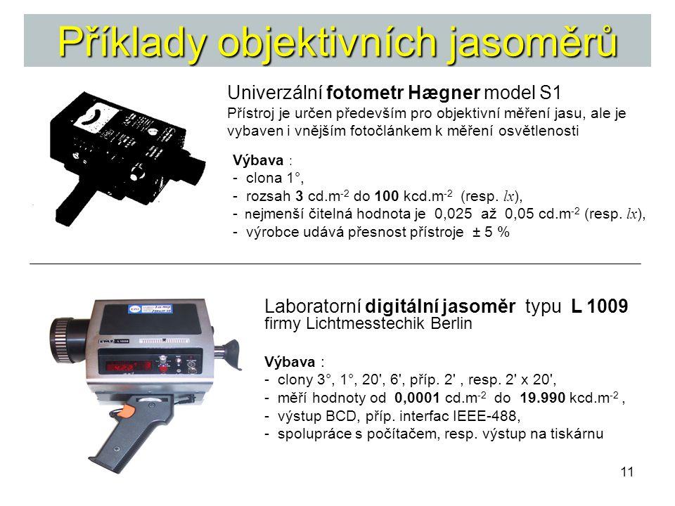 11 Příklady objektivních jasoměrů Laboratorní digitální jasoměr typu L 1009 firmy Lichtmesstechik Berlin Univerzální fotometr Hægner model S1 Přístroj