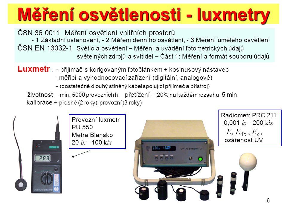 6 Měření osvětlenosti - luxmetry ČSN 36 0011 Měření osvětlení vnitřních prostorů - 1 Základní ustanovení, - 2 Měření denního osvětlení, - 3 Měření umě