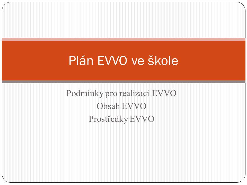 Podmínky pro realizaci EVVO Obsah EVVO Prostředky EVVO Plán EVVO ve škole