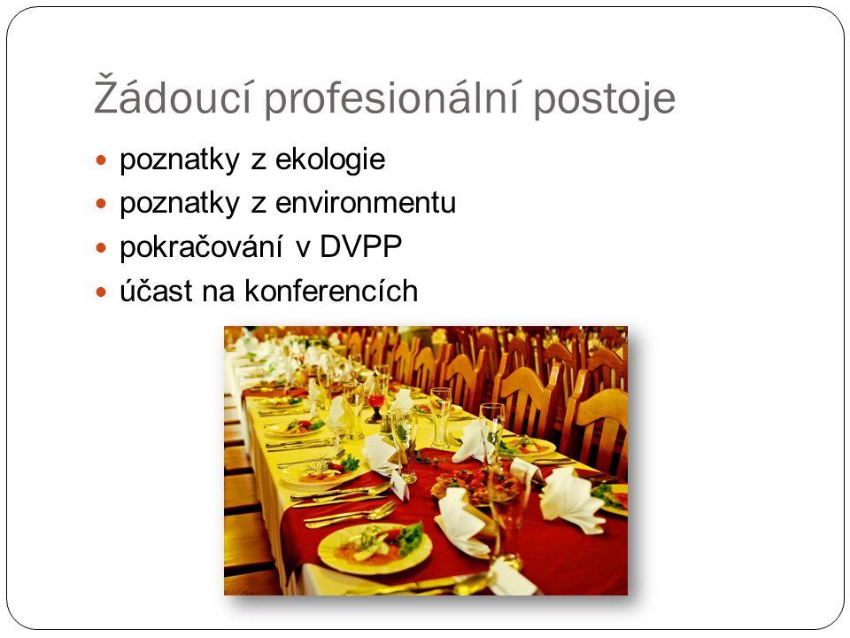 Žádoucí profesionální postoje poznatky z ekologie poznatky z environmentu pokračování v DVPP účast na konferencích