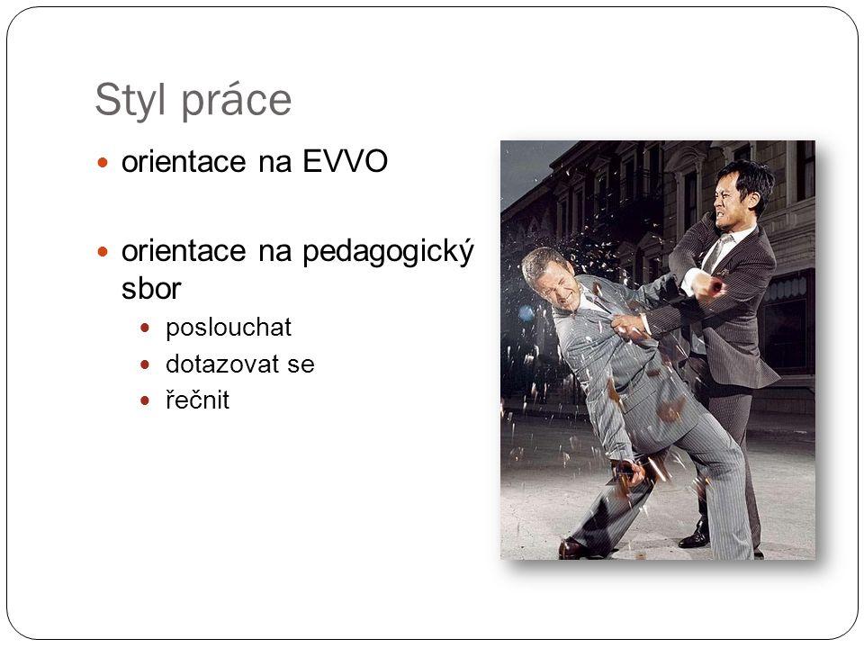Styl práce orientace na EVVO orientace na pedagogický sbor poslouchat dotazovat se řečnit