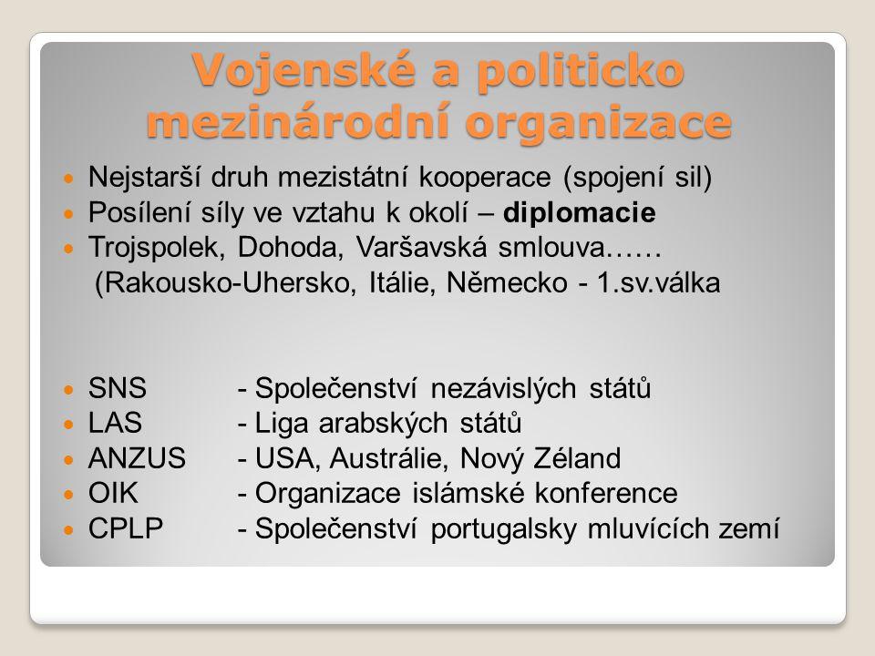 Vojenské a politicko mezinárodní organizace Nejstarší druh mezistátní kooperace (spojení sil) Posílení síly ve vztahu k okolí – diplomacie Trojspolek,