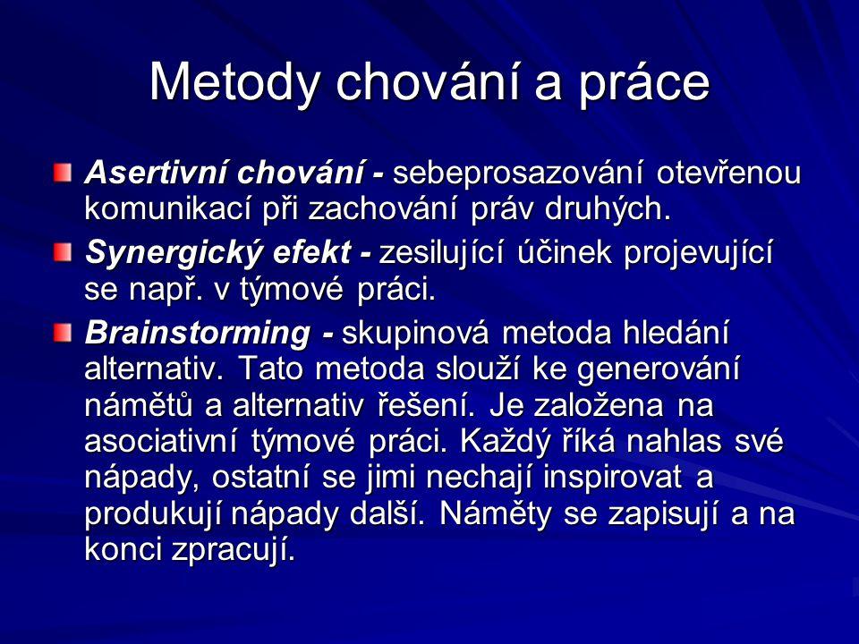 Metody chování a práce Asertivní chování - sebeprosazování otevřenou komunikací při zachování práv druhých.