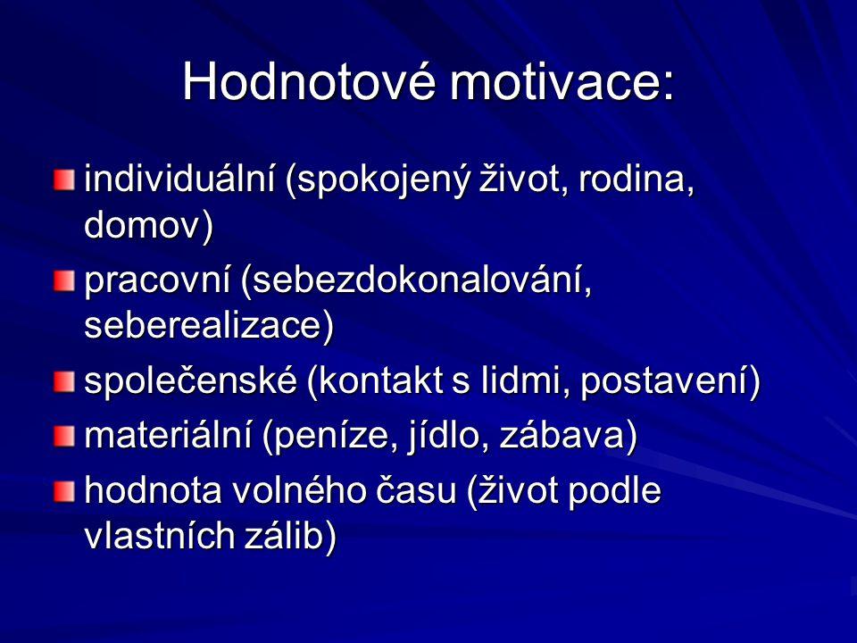Hodnotové motivace: individuální (spokojený život, rodina, domov) pracovní (sebezdokonalování, seberealizace) společenské (kontakt s lidmi, postavení) materiální (peníze, jídlo, zábava) hodnota volného času (život podle vlastních zálib)
