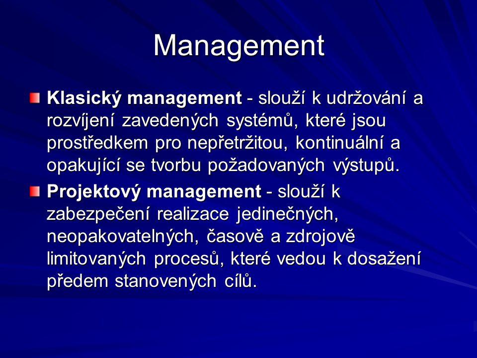 Management Klasický management - slouží k udržování a rozvíjení zavedených systémů, které jsou prostředkem pro nepřetržitou, kontinuální a opakující se tvorbu požadovaných výstupů.