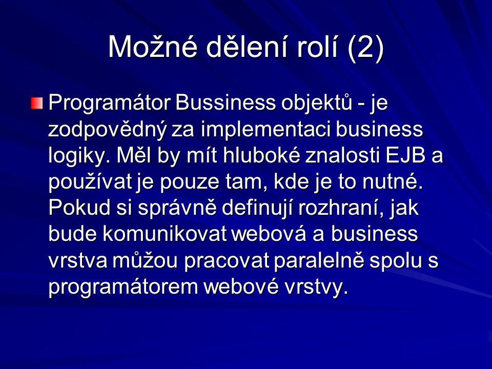 Možné dělení rolí (2) Programátor Bussiness objektů - je zodpovědný za implementaci business logiky.