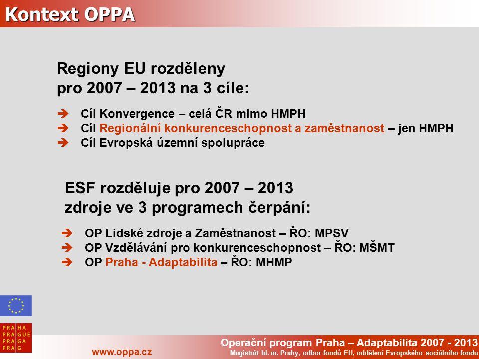 Operační program Praha – Adaptabilita 2007 - 2013 www.oppa.cz Magistrát hl. m. Prahy, odbor fondů EU, oddělení Evropského sociálního fondu Kontext OPP