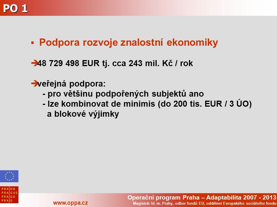 Operační program Praha – Adaptabilita 2007 - 2013 www.oppa.cz Magistrát hl. m. Prahy, odbor fondů EU, oddělení Evropského sociálního fondu PO 1  Podp