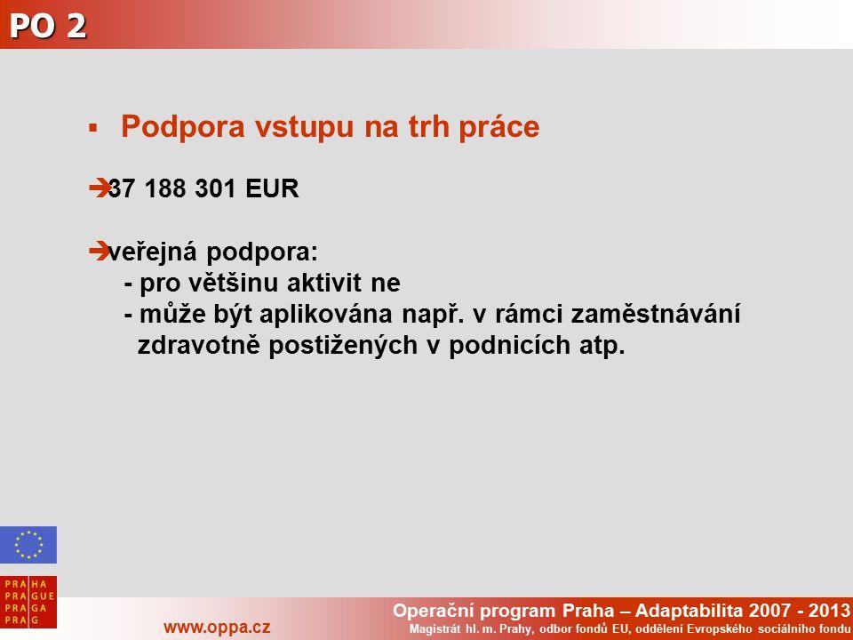 Operační program Praha – Adaptabilita 2007 - 2013 www.oppa.cz Magistrát hl. m. Prahy, odbor fondů EU, oddělení Evropského sociálního fondu PO 2  Podp