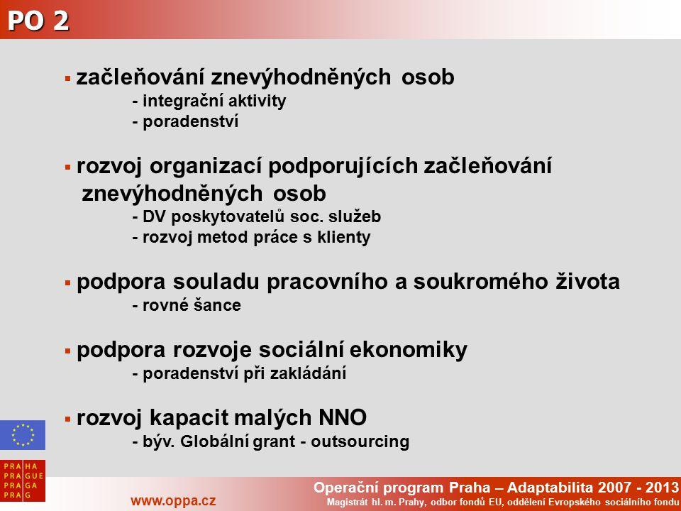 Operační program Praha – Adaptabilita 2007 - 2013 www.oppa.cz Magistrát hl. m. Prahy, odbor fondů EU, oddělení Evropského sociálního fondu PO 2  začl