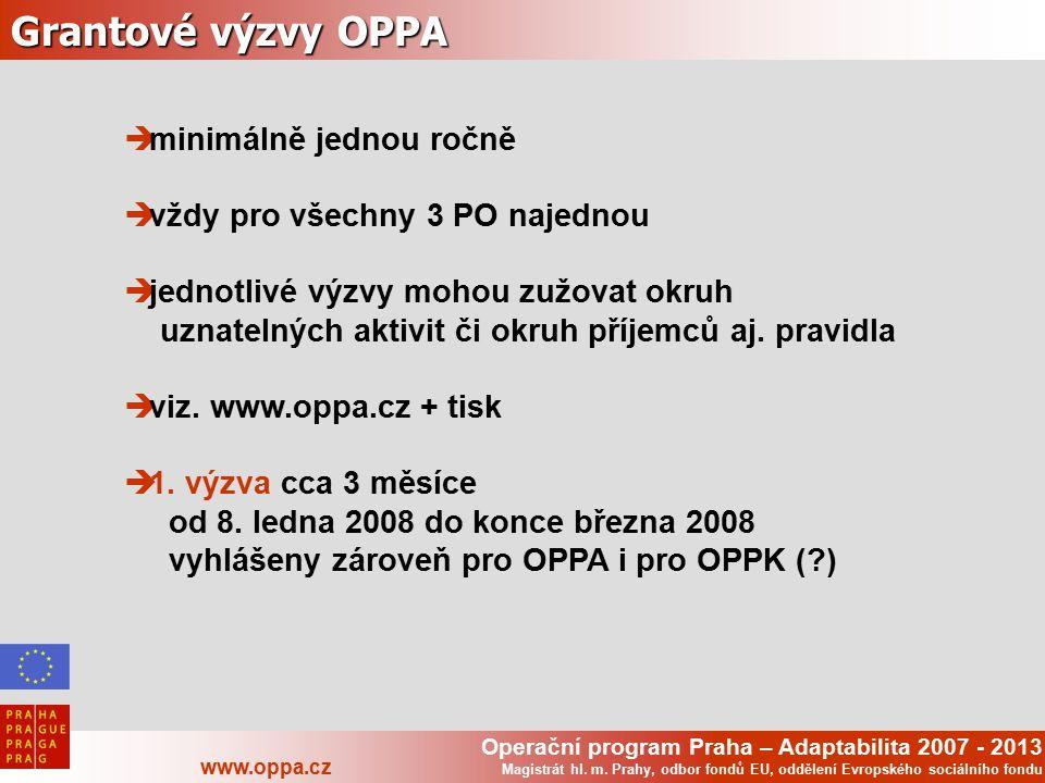Operační program Praha – Adaptabilita 2007 - 2013 www.oppa.cz Magistrát hl. m. Prahy, odbor fondů EU, oddělení Evropského sociálního fondu Grantové vý