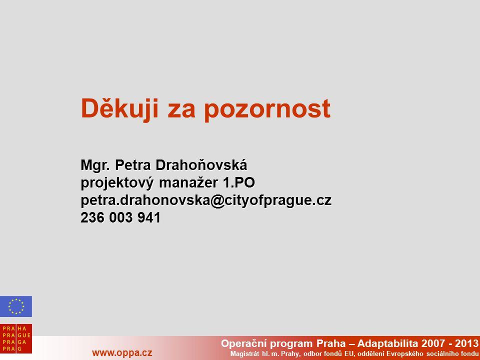 Operační program Praha – Adaptabilita 2007 - 2013 www.oppa.cz Magistrát hl. m. Prahy, odbor fondů EU, oddělení Evropského sociálního fondu Děkuji za p