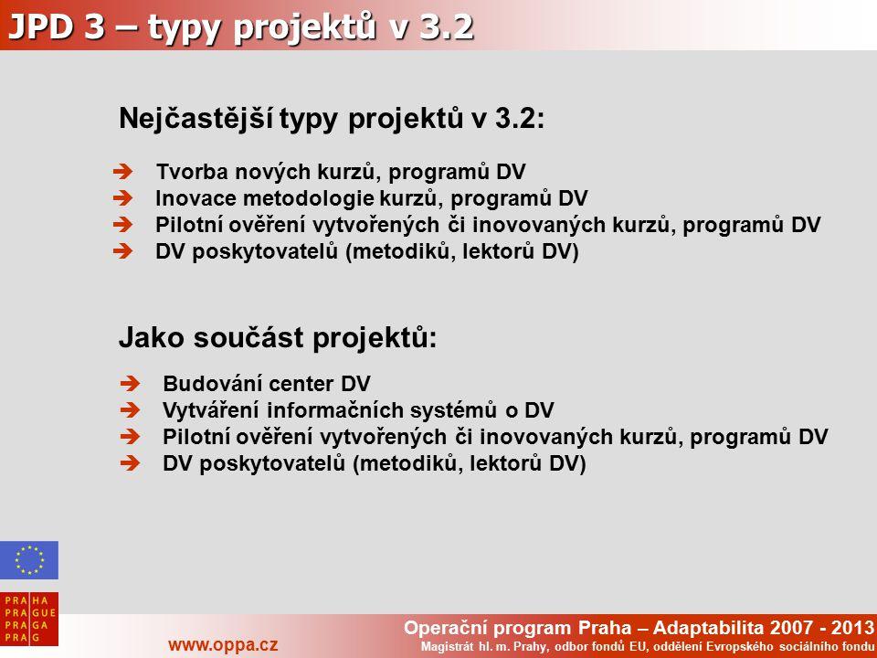 Operační program Praha – Adaptabilita 2007 - 2013 www.oppa.cz Magistrát hl. m. Prahy, odbor fondů EU, oddělení Evropského sociálního fondu JPD 3 – typ