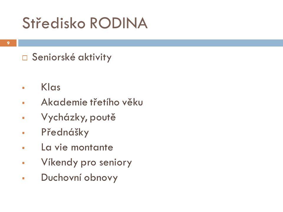 Středisko RODINA  Seniorské aktivity  Klas  Akademie třetího věku  Vycházky, poutě  Přednášky  La vie montante  Víkendy pro seniory  Duchovní obnovy 9