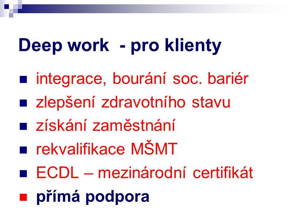 Deep work - pro klienty integrace, bourání soc.