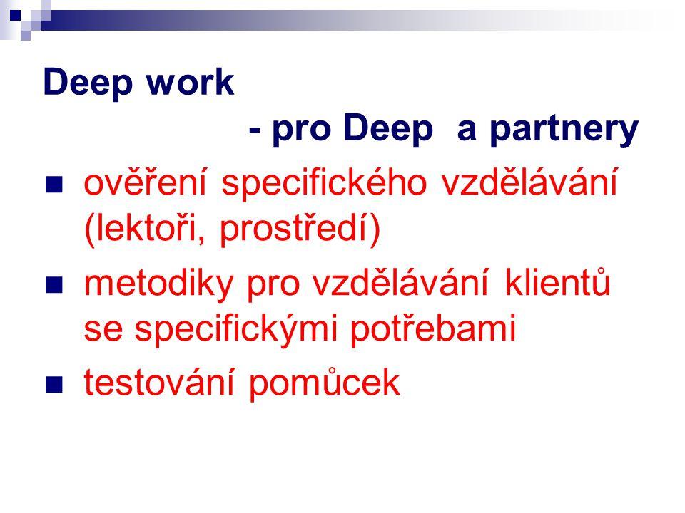 Deep work - pro Deep a partnery ověření specifického vzdělávání (lektoři, prostředí) metodiky pro vzdělávání klientů se specifickými potřebami testování pomůcek