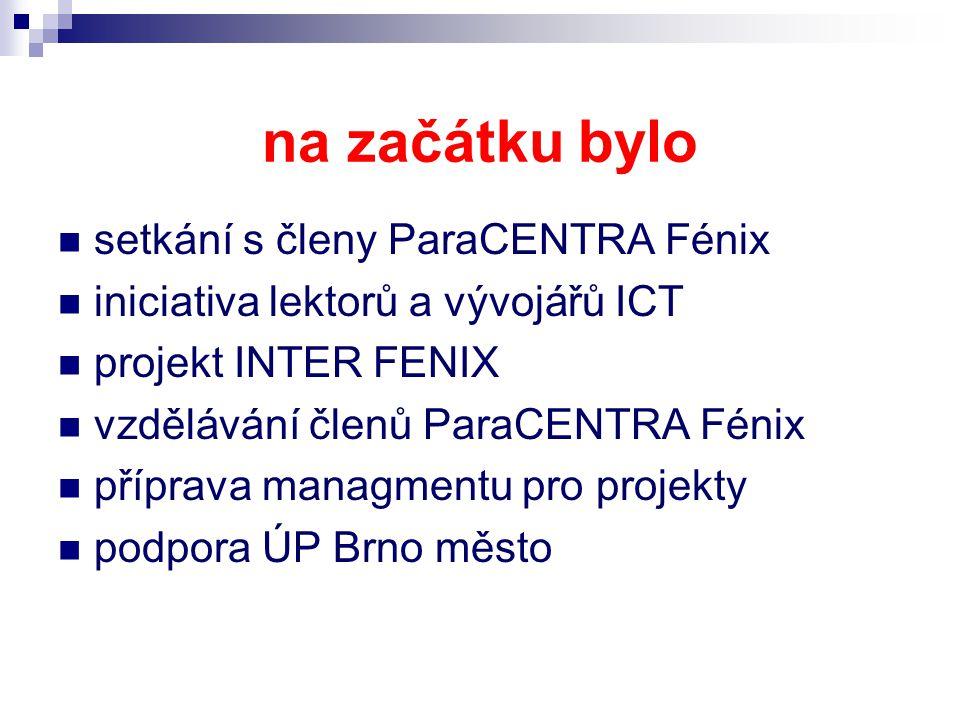 na začátku bylo setkání s členy ParaCENTRA Fénix iniciativa lektorů a vývojářů ICT projekt INTER FENIX vzdělávání členů ParaCENTRA Fénix příprava managmentu pro projekty podpora ÚP Brno město
