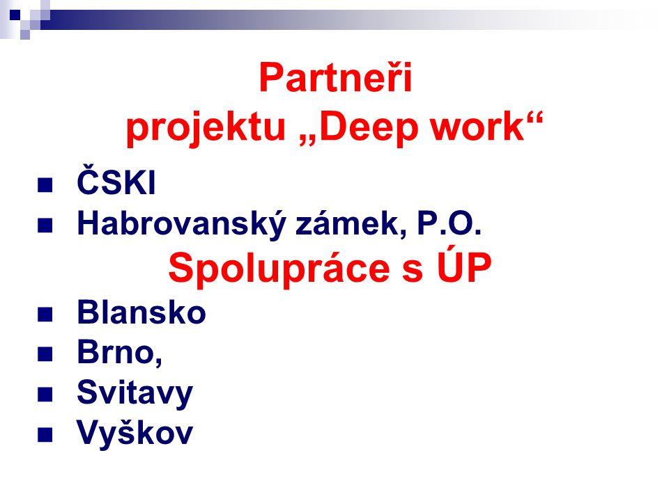"""Partneři projektu """"Deep work"""" ČSKI Habrovanský zámek, P.O. Spolupráce s ÚP Blansko Brno, Svitavy Vyškov"""