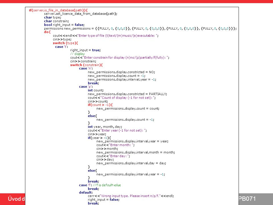 PB071 Úvod do C, 5.5.2014 MinUnit – spuštění a vyhodnocení testů static char * all_tests() { mu_run_test(test_foo); mu_run_test(test_bar); return 0; } int main(int argc, char **argv) { char *result = all_tests(); if (result != 0) { printf( %s\n , result); } else { printf( ALL TESTS PASSED\n ); } printf( Tests run: %d\n , tests_run); return result != 0; } spuštění jednotlivých testů (pozn.