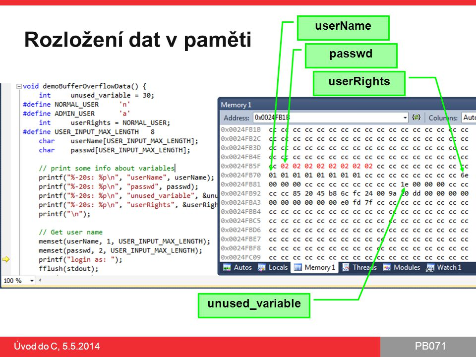 PB071 Úvod do C, 5.5.2014 Rozložení dat v paměti passwd userName userRights unused_variable