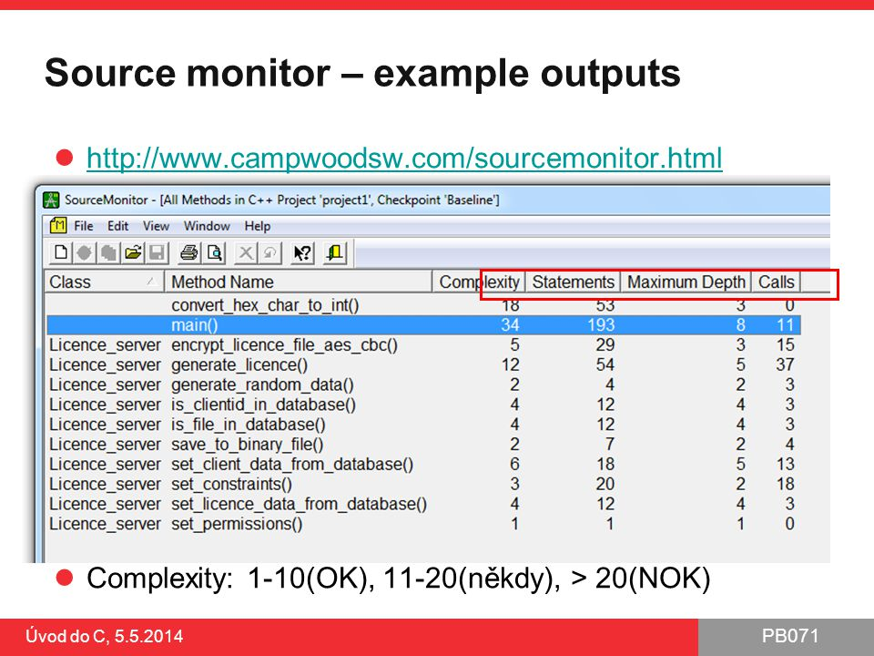 PB071 Úvod do C, 5.5.2014 CxxTest – pokročilejší framework http://cxxtest.tigris.org/ Pro C i C++ ●vyžaduje překladač pro C++ a Python ●testy jsou funkce v potomkovi CxxTest::TestSuite Lze integrovat do IDE ●např.