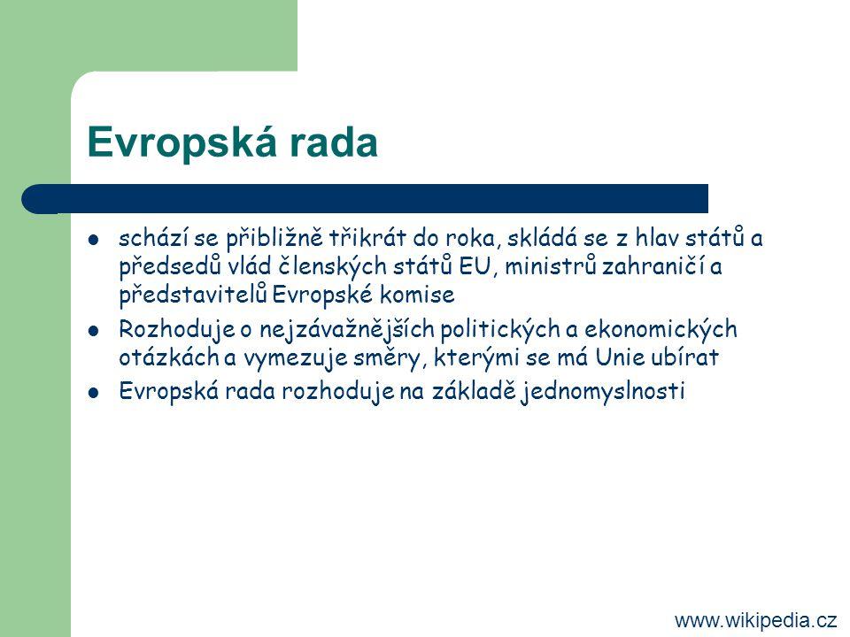 Evropská rada schází se přibližně třikrát do roka, skládá se z hlav států a předsedů vlád členských států EU, ministrů zahraničí a představitelů Evropské komise Rozhoduje o nejzávažnějších politických a ekonomických otázkách a vymezuje směry, kterými se má Unie ubírat Evropská rada rozhoduje na základě jednomyslnosti www.wikipedia.cz