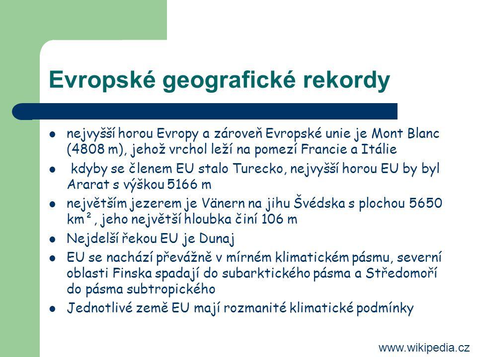 Evropské geografické rekordy nejvyšší horou Evropy a zároveň Evropské unie je Mont Blanc (4808 m), jehož vrchol leží na pomezí Francie a Itálie kdyby se členem EU stalo Turecko, nejvyšší horou EU by byl Ararat s výškou 5166 m největším jezerem je Vänern na jihu Švédska s plochou 5650 km², jeho největší hloubka činí 106 m Nejdelší řekou EU je Dunaj EU se nachází převážně v mírném klimatickém pásmu, severní oblasti Finska spadají do subarktického pásma a Středomoří do pásma subtropického Jednotlivé země EU mají rozmanité klimatické podmínky www.wikipedia.cz