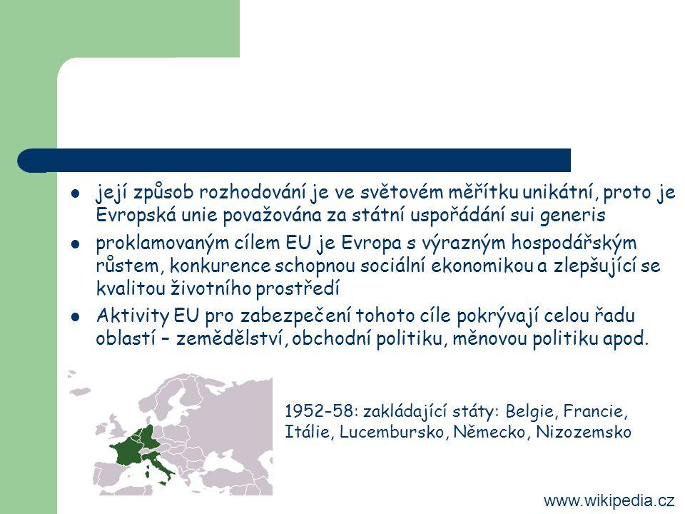 její způsob rozhodování je ve světovém měřítku unikátní, proto je Evropská unie považována za státní uspořádání sui generis proklamovaným cílem EU je Evropa s výrazným hospodářským růstem, konkurence schopnou sociální ekonomikou a zlepšující se kvalitou životního prostředí Aktivity EU pro zabezpečení tohoto cíle pokrývají celou řadu oblastí – zemědělství, obchodní politiku, měnovou politiku apod.